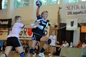 SIOFOK, HUNGARY - AUGUST 24: Erika Kischner (33) in action at a Siofok Cup handball game Siofok KC p