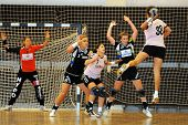 SIOFOK, HUNGARY - AUGUST 24: Unidentified players in action at a Siofok Cup handball game Siofok KC