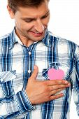 Handsome Man Holding Paper Heart