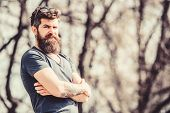Masculinity And Manliness. Man Attractive Bearded Hipster Posing Outdoors. Confident Posture Of Hand poster