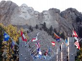 Rushmore With Flags
