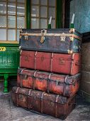 Old Luggage Barrow And Cases On Platfrom On Embsay Station, Yorkshire, England, Uk,. Luggage Barrow  poster