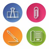 Set Line Binder Clip, Paper Clip, Pen Line And Telephone. Color Circle Button. Vector poster