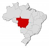 Map Of Brazil, Mato Grosso Highlighted