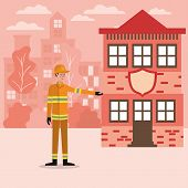 Firefighter Man And House Design, Working Occupation Person Job Corporate Employee And Service Theme poster