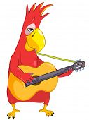 Cartoon Character Funny Parrot Isolated on White Background. Guitarist. Vector EPS 10.