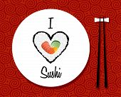 I Love Sushi Restaurant Background