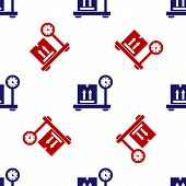 Blue And Red Scale With Cardboard Box Icon Isolated Seamless Pattern On White Background. Logistic A poster