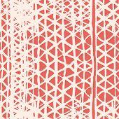 Salmon And White Organic Minimal Grid. Watercolor Shoji Design. Kimono Tile.  Batik Tie Dye Border.  poster