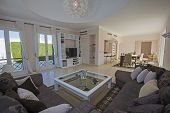 Living Room Lounge In Luxury Villa Show Home Showing Interior Design Decor Furnishing And Open Plan  poster