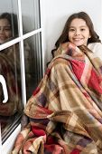 Lets Stay Home. Happy Girl Feel Cozy At Home. Little Child Rolled In Plaid Blanket. Cozy Home. Rest  poster