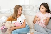 Kids Play Toys In Bed. Little Girls Spend Time Together. Teach Sister Sharing Toys. Greedy Sisters.  poster
