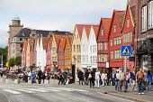 BERGEN - JUNE 27: People at Hanseatic Bryggen on JUNE 27, 2011 in Bergen, Norway. Part of Bryggen bu