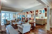 Large open concept home interior with living room, kitchen, and dining room. poster