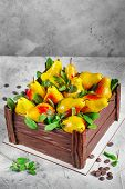 Birthday Cake In The Form Of A Chocolate Box Filled With Pears Made From Mousse Cakes. Cake Decorate poster