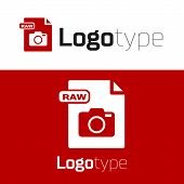 Red Raw File Document. Download Raw Button Icon Isolated On White Background. Raw File Symbol. Logo  poster