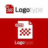 Red Png File Document. Download Png Button Icon Isolated On White Background. Png File Symbol. Logo  poster