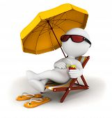 stock photo of thong  - 3d white people in vacation lying on a beach chair with cocktail and umbrella - JPG