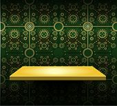 Luxury Yellow Shelf On Green Wallpaper