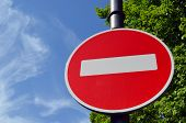 Limiting Traffic Sign White Brick On Red On Sky