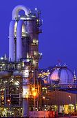 Equipment In A Chemical Production Facility With Colourful Lighting