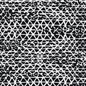 Batik Tie Dye Border. Stencil Japan Background. Organic Minimal Grid. Greyscale Shibori Seamless Pat poster