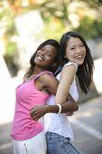 portrait of happy multiethnic friends