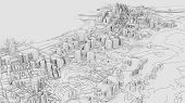 3d White City Model. Outline 3d Illustration. City With Buildings, Roads, Spending And Green Areas.  poster