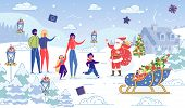 Family Congratulation With Christmas And New Year By Santa Claus On Snowy Winter Landscape Backgroun poster