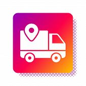 White Delivery Tracking Icon Isolated On White Background. Parcel Tracking. Square Color Button. Vec poster