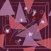 Square Flower Arrangement. Hand-drawn Flowers On Geometric Background. Pattern For Printing On Scarv poster