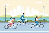 People Riding Bicycle. Cartoon Active Characters In City Park Riding Bike, Active And Healthy Lifest poster