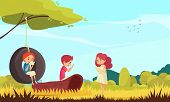 Gadget Addiction Carton Vector Illustration With With Children And Adult Person On Nature Communicat poster