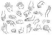 stock photo of spanking  - Various sketches of hand gestures - JPG