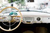 Interior Of A Classic Vintage Car. Old Car poster