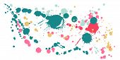 Watercolor Paint Stains Grunge Background Vector. Futuristic Ink Splatter, Spray Blots, Dirty Spot E poster