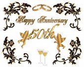 50Th Wedding Anniversary Invitation 3D