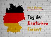 German Unity Day (tag Der Deutschen Einheit) Greeting Card With Country Silhouette And Congratulator poster
