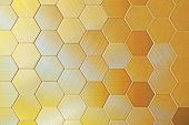 Gold Hexagons, There Are A Lot Of Figures, Gold Objects, Texture Of Metal, A Background From Figures poster