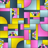 Flat Pattern With Eyes In Geometric Shapes Grid Mondrian Avant Garde Fashion Textile Print. Patches  poster