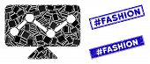 Mosaic Analytics Monitoring Pictogram And Rectangle Hashtag Fashion Stamps. Flat Vector Analytics Mo poster