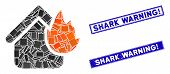 Mosaic Home Fire Disaster Icon And Rectangular Shark Warning Exclamation Seal Stamps. Flat Vector Ho poster
