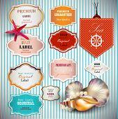 Conjunto de Superior qualidade e satisfação garantia emblemas, etiquetas, Tags com conchas e lugar para te