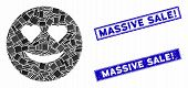 Mosaic Love Smiley Pictogram And Rectangle Massive Sale Exclamation Stamps. Flat Vector Love Smiley  poster