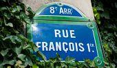 Street plate for Rue du Fran�?�§ois I in Paris