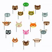 Flat Masks Animals Cute. Carnival Party. Birthday Party. Holiday Vector. Carnival Mask. Cute Animals poster
