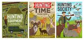 Hunting Equipment, Hunt Wild Animals And Birds, Safari And Forest Hunt Open Season Posters. Vector H poster