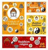 Buddhist Religious Worship, Buddhism Religious Symbols. Vector Meditation And Buddhism Dharma Teachi poster