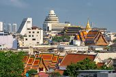 Bangkok temples view. Bangkok cityscape with Wat Pho temple and skyscrapers, Thailand poster