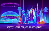 City Of Future Cartoon Banner. Futuristic Architecture Skyscrapers Buildings Fluorescent, Neon Color poster